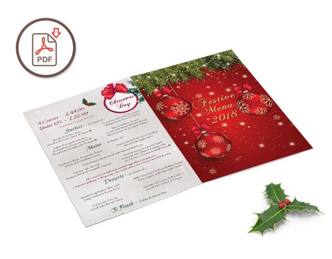 Madebrook Christmas Fayre Menu 2018